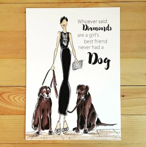 Dog Art: Custom Fashionista Dog Mom Portrait