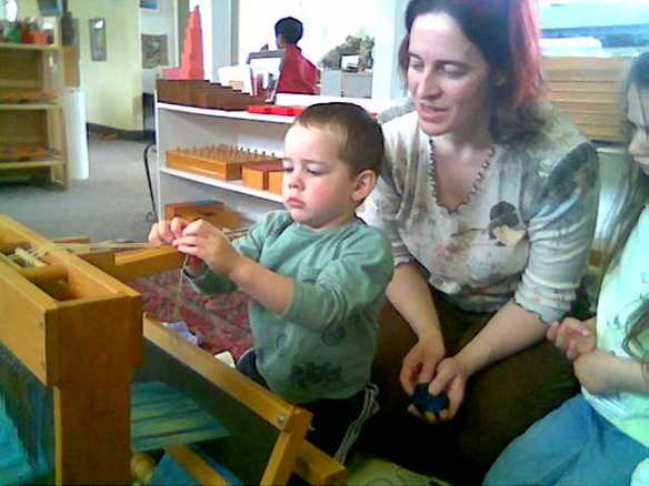 Syne teaching at a Montessori school