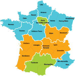 carte zones départements France vacances scolaires 2017 jours fériés 2017