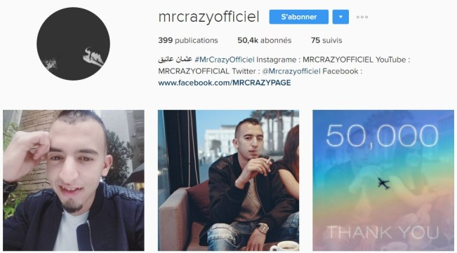 Instagram de MR CRAZY - Rap Maroc 2017