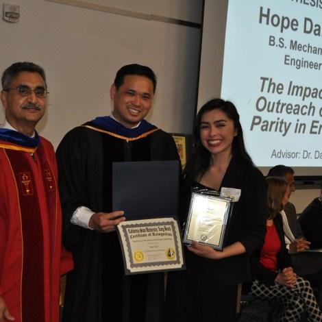 Hope Daley and professors Daniel Whisler and Jalal Torabzadeh