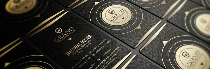 ゴールドデザインのエレガントな名刺のコレクション