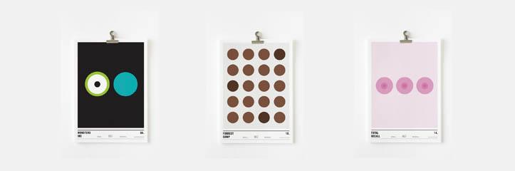 14枚の円だけでデザインされたミニマル映画ポスター