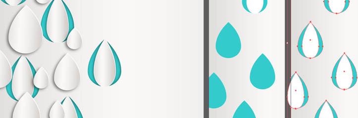 Adobe Illustratorで立体の雨のしずくデスクトップ壁紙イラストを作成