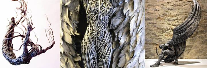 息をのむようなワイヤー彫刻が人間の体の流動性を写し出します