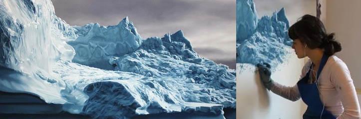 フィンガーペイントのアスターニング氷山 by Zaria Forman