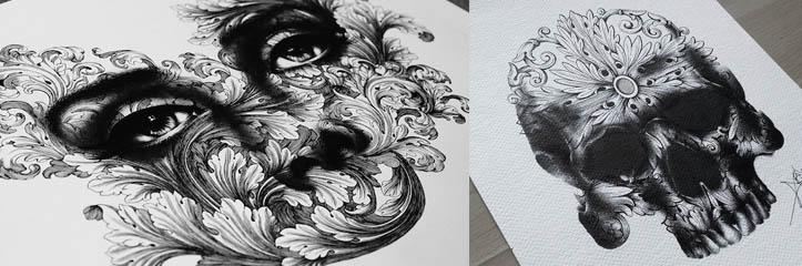 絶妙なペン絵画が何千というごく小さい点で作られます