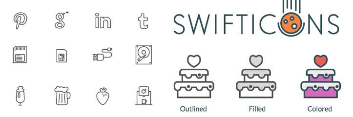 フリー素材:Swifticonsアイコンセット(92×3アイコン、AI、Sketch、PNG、SVG、EPS、PDF)
