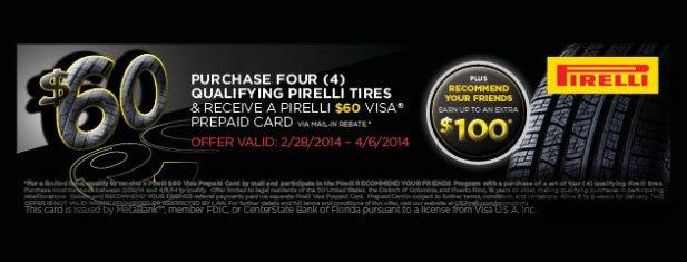 Pirelli Tires $60 prepaid card