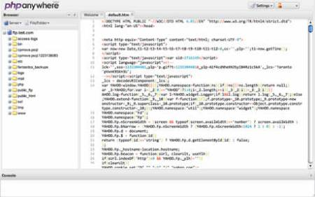Editor de php online, PHPanywhere