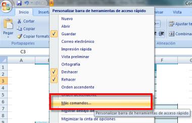 Personaliza la barra de herramientas de acceso rápido en Office 2007