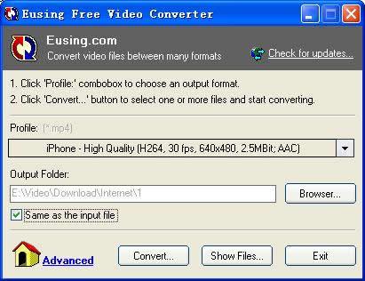 Convertir videos con Eusing Free Video Converter