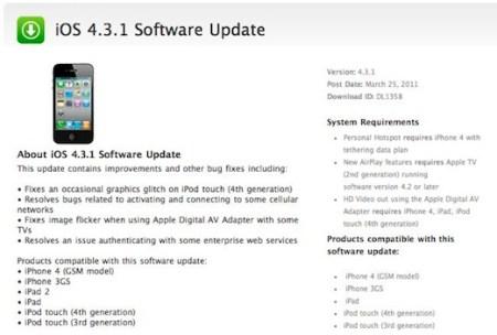 iOS 4.3.1 disponible para su descarga