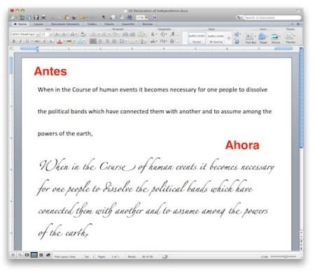 Office Mac 2011 ahora incluye soporte avanzado de caligrafía