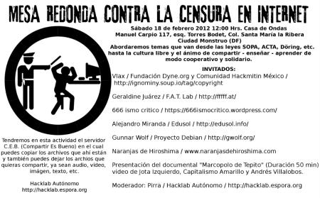 Hacklab organiza la mesa redonda contra la Censura en Internet