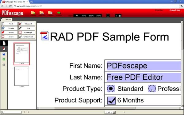 PDFescape Editar PDF en Chrome con PDFescape