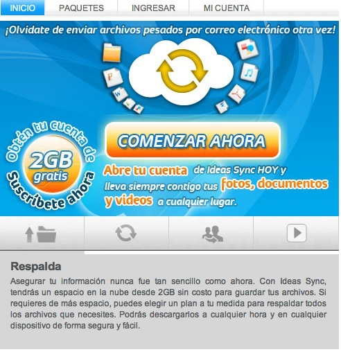 Ideas Sync Ideas Sync, el servicio de almacenamiento en la nube de Telcel
