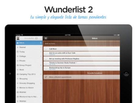Wunderlist 2 para iPad por fin disponible