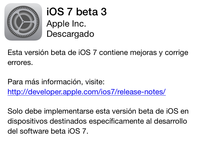 ios beta 3 iOS 7 beta 3 ya disponible para descargar
