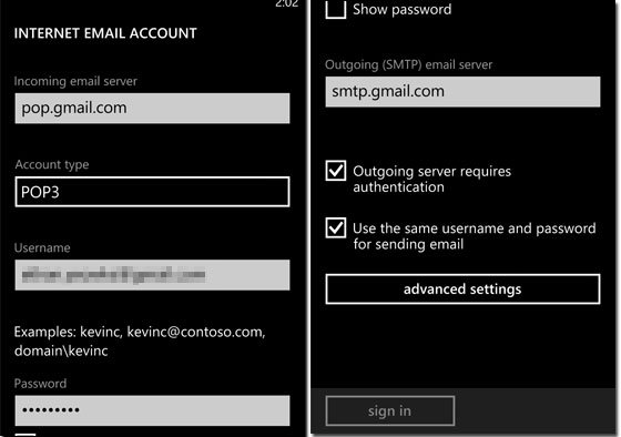 Internet Email Account Screen