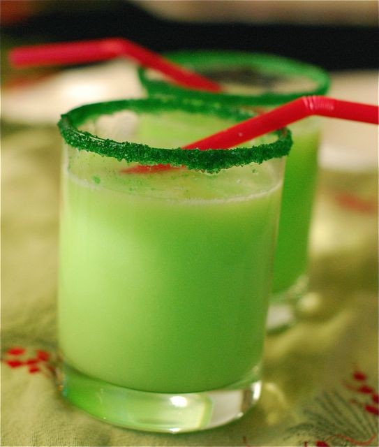 Grinch Punch with Sprite and Lime sherbet and Green Sprinkles/sugar rim. this wo