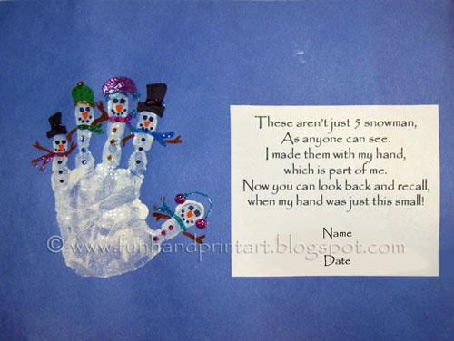 Handprint Snowman with Poem ~ Poem: These aren't just five snowmen, As ...