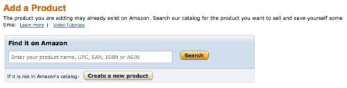Amazon Seller Central new product