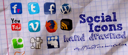 Social Icons hand drawned