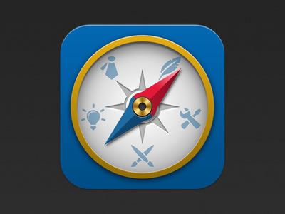 blue compass vector icon design iPhone app