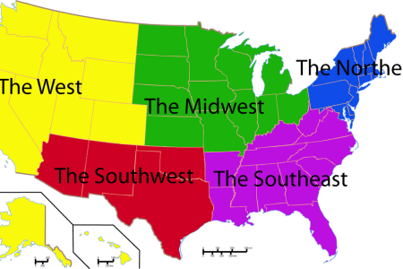 united states 5 regions map