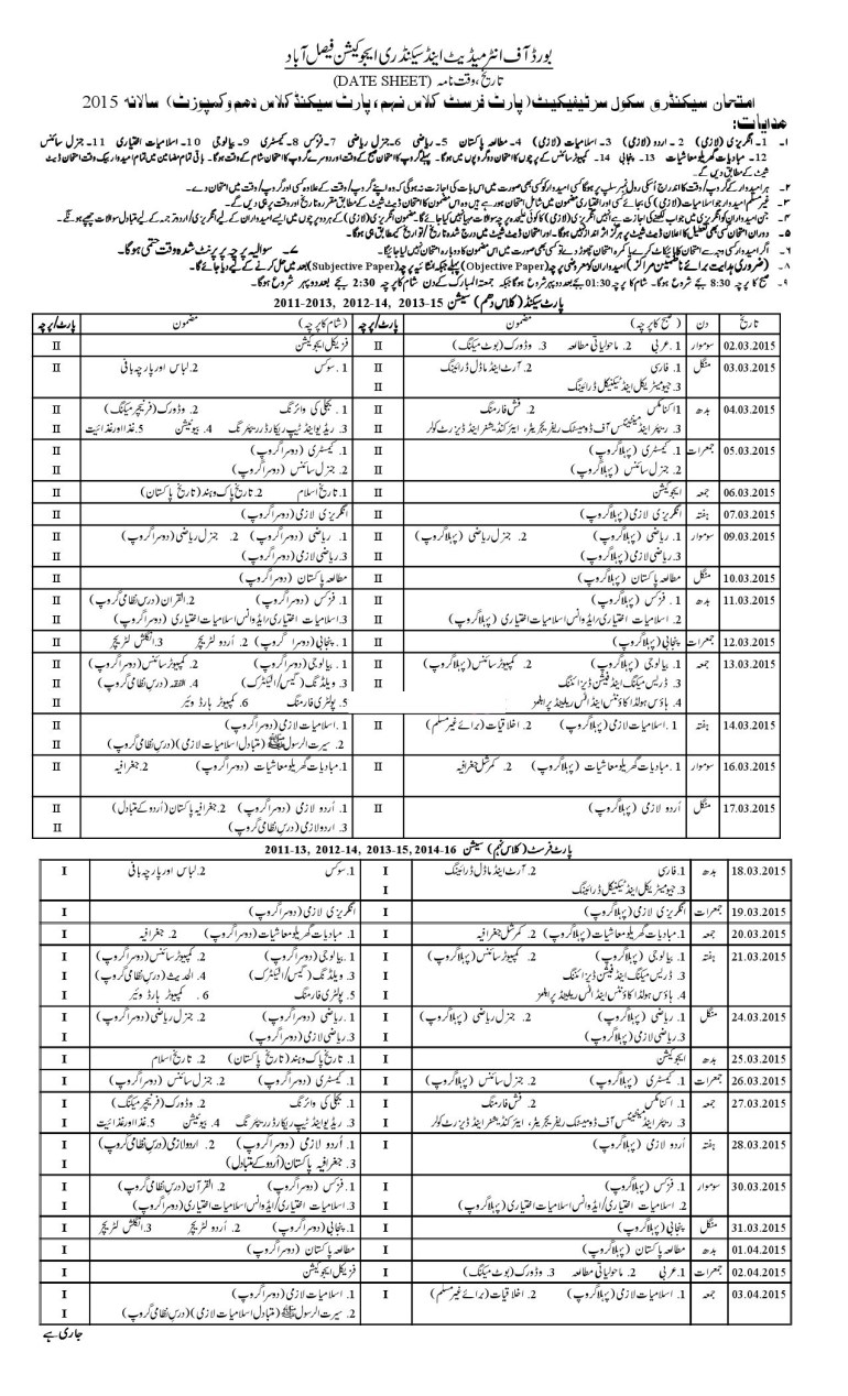 Bise Faisalabad Board Matric Date Sheet 2015