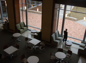 The 2nd floor lobby, seen from the 3rd floor
