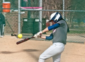 Webster senior catcher Kaytlin Burczak connects on a pitch during a game against Iowa Wesleyan College on Saturday, March 23 at Blackburn Park. Burczak collected 2 hits in the doubleheader against the Tigers. Webster split the two games to move its record to 9-6 overall. CONTRIBUTED BY JOSHUA RITCHEY.