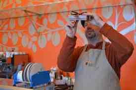 Brian Pelletier prepares a batch of chocolate. / photo by Randi Hammor