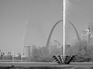 The Gateway Geyser, located on the riverfront of the Mississippi River, sprays water with the Arch in the background. CONTRIBUTED PHOTO