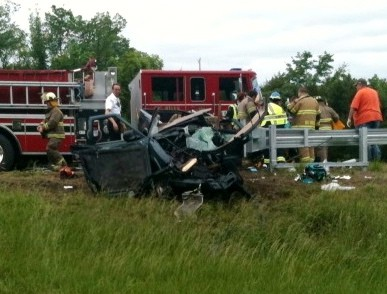 Andrew Young's truck at the crash site. TERESA RESSEL / The Journal
