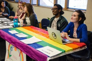 The LGBTQ Alliance addresses students at the WGST Open House Thursday, March 31.