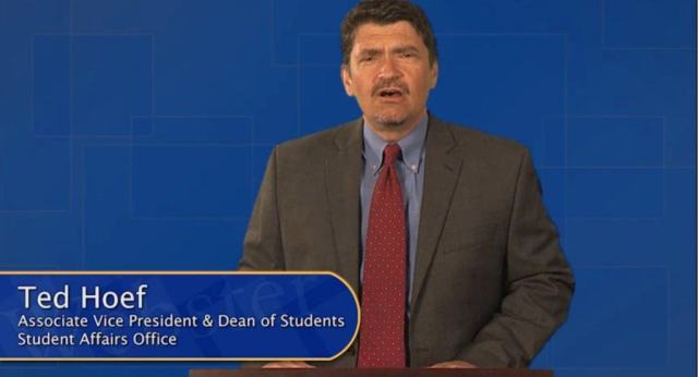 Dean of Students Ted Hoef hosts portions of Webster's sexual assault prevention video.