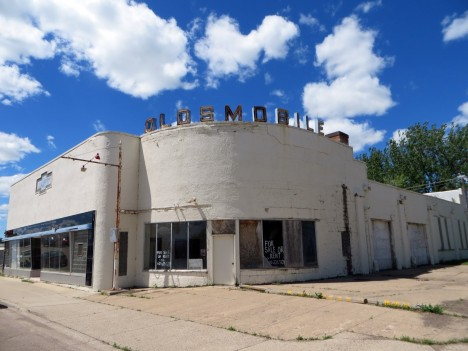abandoned Oldsmobile dealership Beulah North Dakota