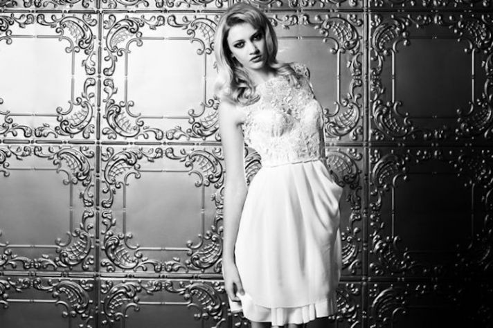 lace LWD little white wedding dress for the reception Sarah Seven black and white