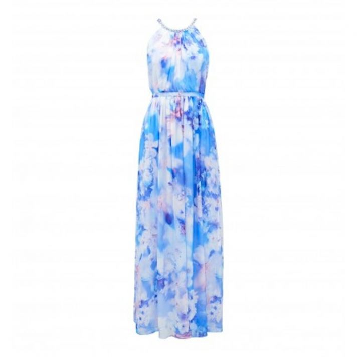 Long Bridesmaid Dress with a Blue Watercolor Print