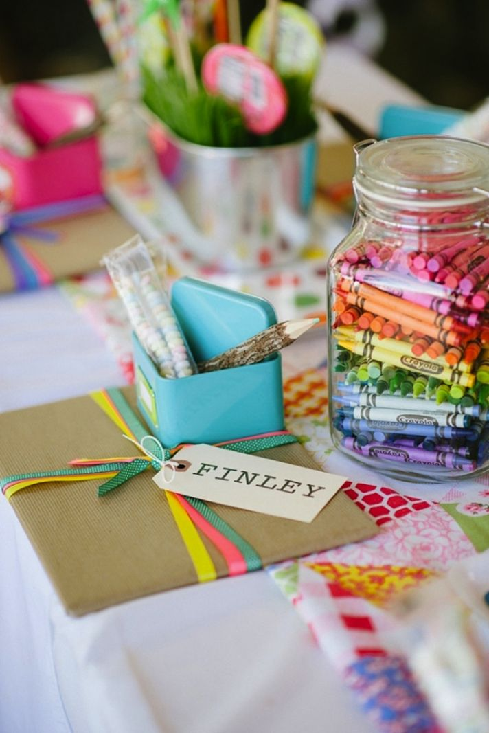 Colorful and Playful Kids Table at wedding