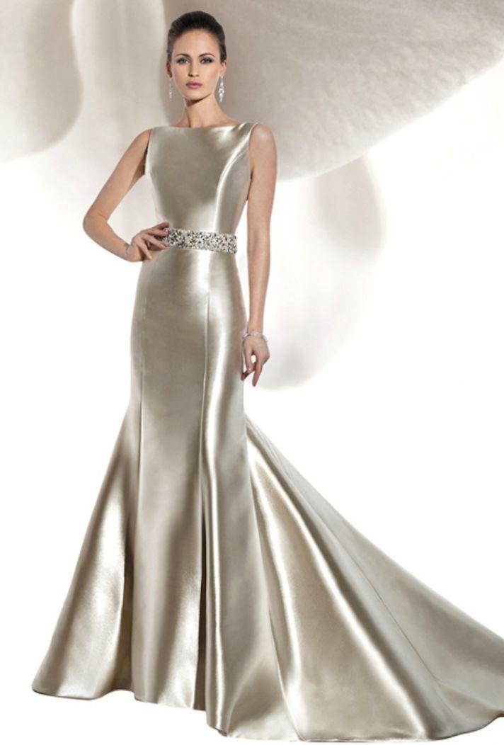 Sleek and elegant liquid satin wedding dresses crazyforus for Long sleek wedding dresses