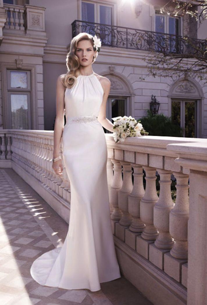 Sleek and elegant liquid satin wedding dresses crazyforus for Jewelry for halter wedding dress