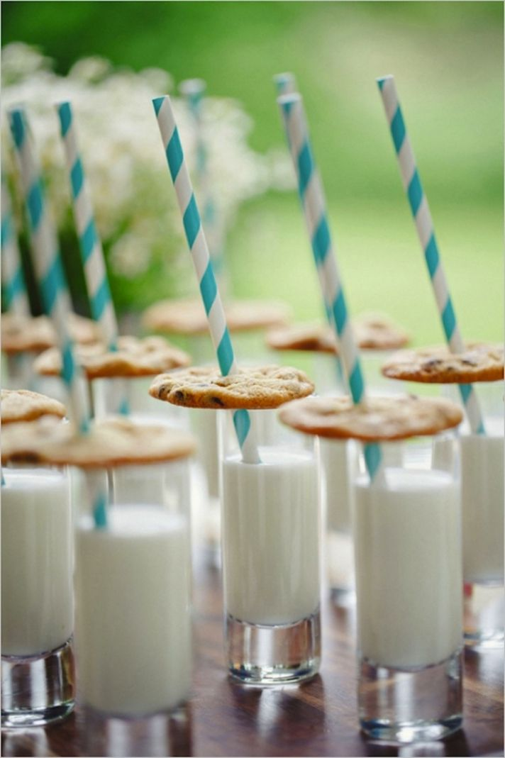 Yummy Milk and Cookies for kids at wedding