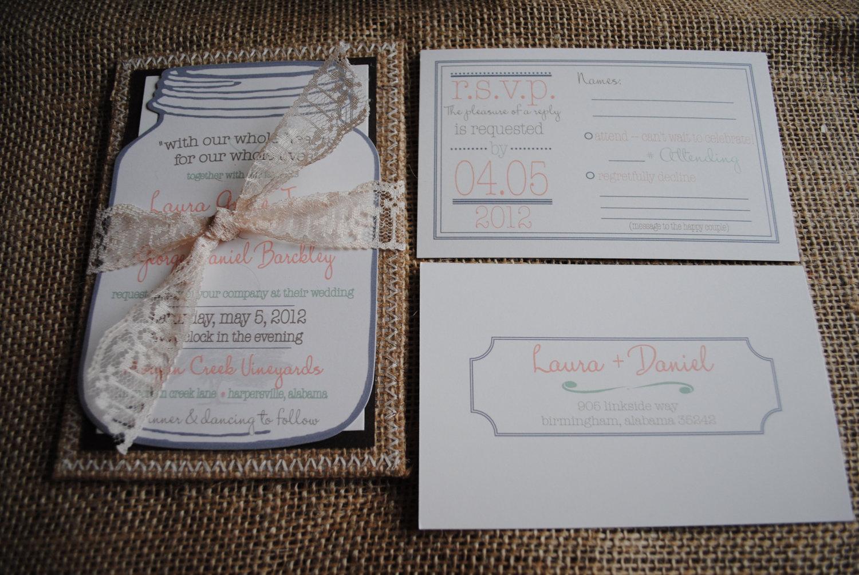mason jar wedding invitations and rsvp mason jar wedding invitations Diy Mason Jar Invitations S