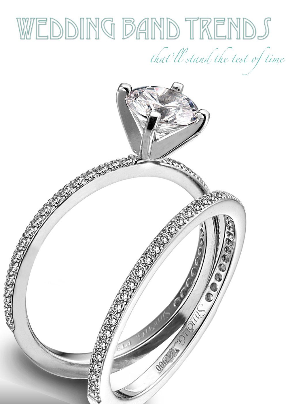 diamond and platinum engagement ring and wedding band set by simon g wedding ring band Top three wedding trends for platinum wedding bands and engagement rings