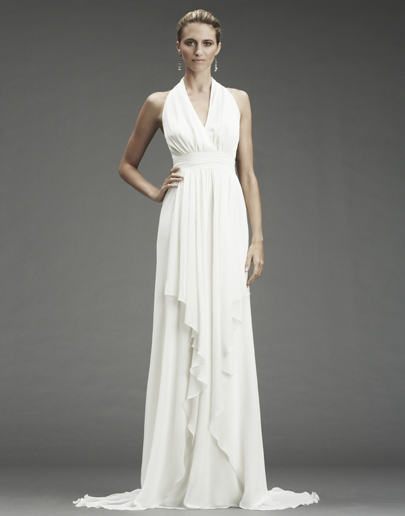 white grecian gown Zc*inwYyyI grecian style wedding dress FA OneWedcom