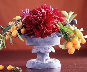 Centerpiece with KumQuats and Dahlias