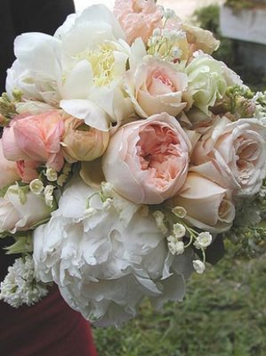Bridal Bouquet with pink and white peonies and garden roses